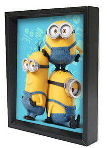 Minions Names Computer Animated Comedy Film Movie Despicable Me Bob Kevin Stuart Framed Shadow Box 3D Poster 8x10