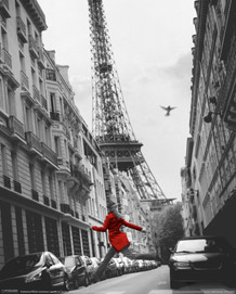 La Veste Rouge Eiffel Tower Paris France European Travel Black White Lenticular 3-D Poster - 8x10