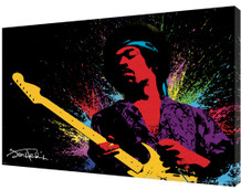 Jimi Hendrix Paint Splatter Rock And Roll Electric Guitarist Singer Music Stretched Canvas - 36x24