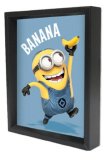 Minions Bananas Computer Animated Comedy Film Movie Despicable Me Bob Framed Shadow Box 3D Poster 8x10