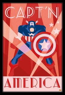 Captain America Art Deco Design Framed Poster - 24x36