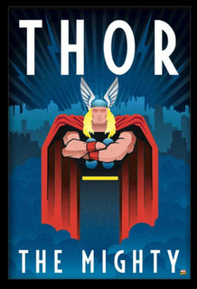The Mighty Thor Art Deco Design Framed Poster 24x36