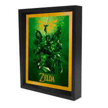Zelda Links The Legend Of Zelda Nintendo Video Game Series Framed Shadow Box 3D Poster - 8x10