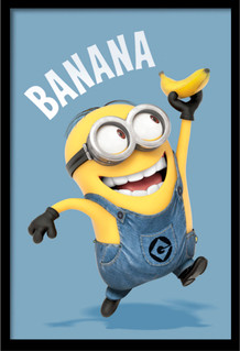 Minions Banana Computer Animated Comedy Movie Despicable Me Bob Framed Poster - 24x36
