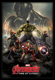 Avengers Age Of Ultron Puppets Tangled In Strings Superhero Movie Film Framed Poster - 24x36