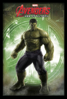 Hulk Avengers Age of Ultron Marvel Comics Superhero Film Movie Logo Framed Poster - 24x36
