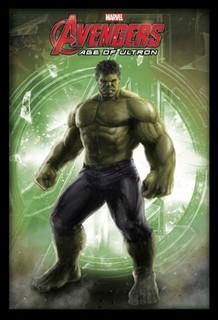 Hulk Avengers Age of Ultron Marvel Comics Superhero Film Movie Logo Framed Poster - 24x36