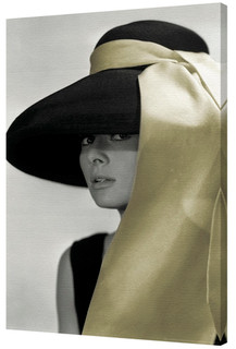 Audrey Hepburn Gold Hat Stretched Canvas - 24x36