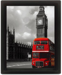 London Red Bus Framed Shadow Box 3D Poster 8x10
