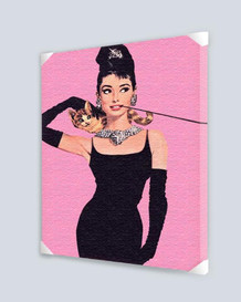 Audrey Hepburn Breakfast Tiffanys Cat Cigarillo Necklace Tiara Movie Pink Stretched Canvas - 24x36