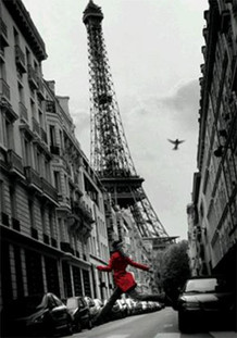 La Veste Rouge Eiffel Tower Paris France European Travel Black White Photograph Lenticular 3-D Poster - 11x17
