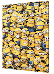 Minions Mass Minions Animated Comedy Film Movie Despicable Me Bob Kevin Stu Stretched Canvas 24x36