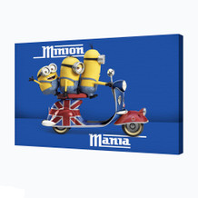 Minions Mania Animated Comedy Movie Despicable Me Bob Kevin Stuart Scooter Stretched Canvas 36x24