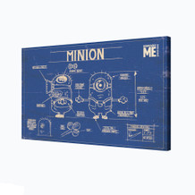Minions Blueprint Schematics Despicable Me Comedy Film Movie Yellow Stretched Canvas - 36x24