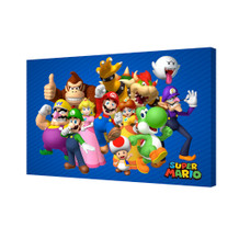 Super Mario Group Nintendo Video Game Series Luigi Princess Peach Yoshi Stretched Canvas - 36x24