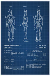 IG88 Star Wars Movie Toy Official Patent Blueprint Poster 12x18