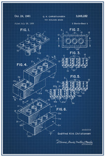 LEGO Toy Building Brick Official Patent Blueprint Poster 12x18