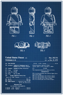 LEGO Minifigure 1979 Official Patent Blueprint Poster 12x18