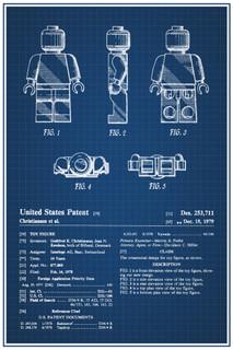 LEGO Minifigure 1979 Official Patent Blueprint Poster 12x18