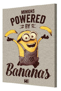 Minions Despicable Me Powered by Bananas Animated Comedy Film Movie Bob Stretched Canvas 12x18