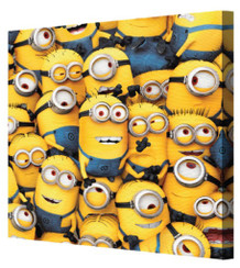 Minions Despicable Me Mass of Minions Animated Comedy Movie Bob Kevin Stretched Canvas 8x8
