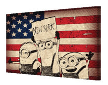 Minions Despicable Me New York Sign American Flag Old Glory NYC Movie Film Stretched Canvas 18x12