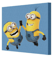 Minions Despicable Me High Five Animated Comedy Movie Film Bob Kevin Stu Stretched Canvas 8x8