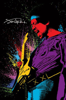 Jimi Hendrix - Playing Guitar Paint Music Poster - 24x36