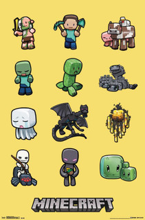 Minecraft Characters Steve Video Gaming Poster 22x34