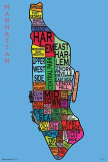 Manhattan Neighborhoods Typography Art Print Poster 24x36