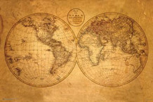 Old World Map Art Print Poster 36x24