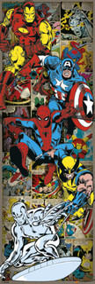 Marvel Comics Retro Heroes Door Poster 21x62