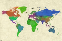World Map Watercolor Painting Art Print Poster 36x24
