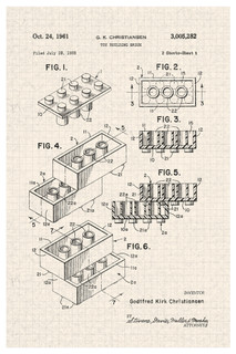 LEGO Building Brick 1961 Official Patent Blueprint Poster 12x18
