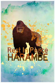 Rest In Peace Harambe The Gorilla Art Print Poster 12x18