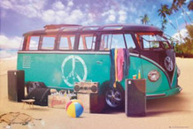 VW Camper Party Photo Art Print Poster 36x24