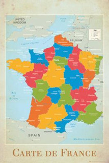 France Map Reference Chart Poster 24x36