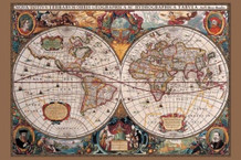 17th Century World Map Art Print Giant Poster 55x39