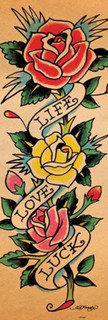 Ed Hardy Life Love Luck Tattoo Art Roses Poster - 12x36