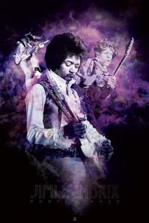 Jimi Hendrix Purple Haze Smoke Rock Roll Electric Guitarist Singer Songwriter Music Poster - 24x36