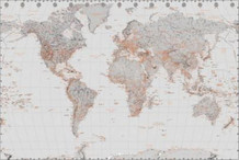 World Map Silver Art Print Poster 36x24