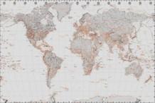 World Map Silver Art Print Poster 36x24