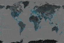 World Map Black Art Print Poster 36x24