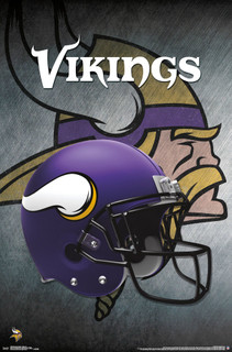 Minnesota Vikings Helmet Football Sports Poster 22x34