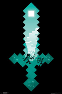 Minecraft Diamond Sword Video Gaming Poster 22x34