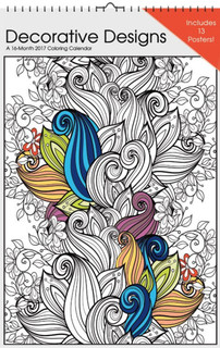 Decorative Designs Coloring 2017 16 Month Oversized Poster Calendar 11x17