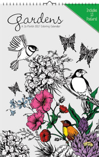 Gardens Coloring 2017 16 Month Oversized Poster Calendar 11x17