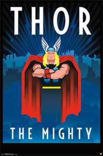 Thor The Mighty Art Deco Comic Book Art Poster 22x34