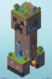Minecraft Creeper Village Video Gaming Poster 22x34
