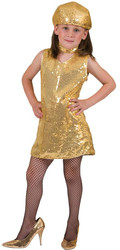 Disco Dress Gold Child Med